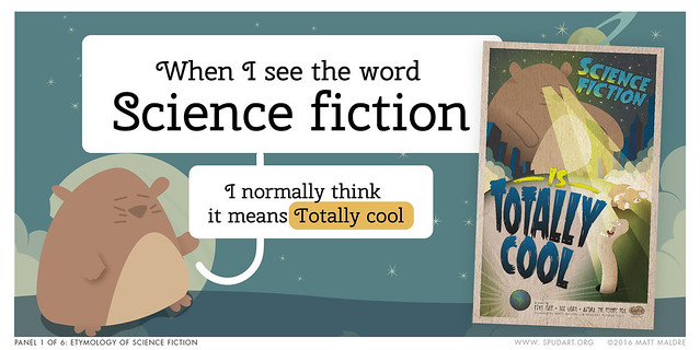 Panel 1/6: Etymology of science fiction