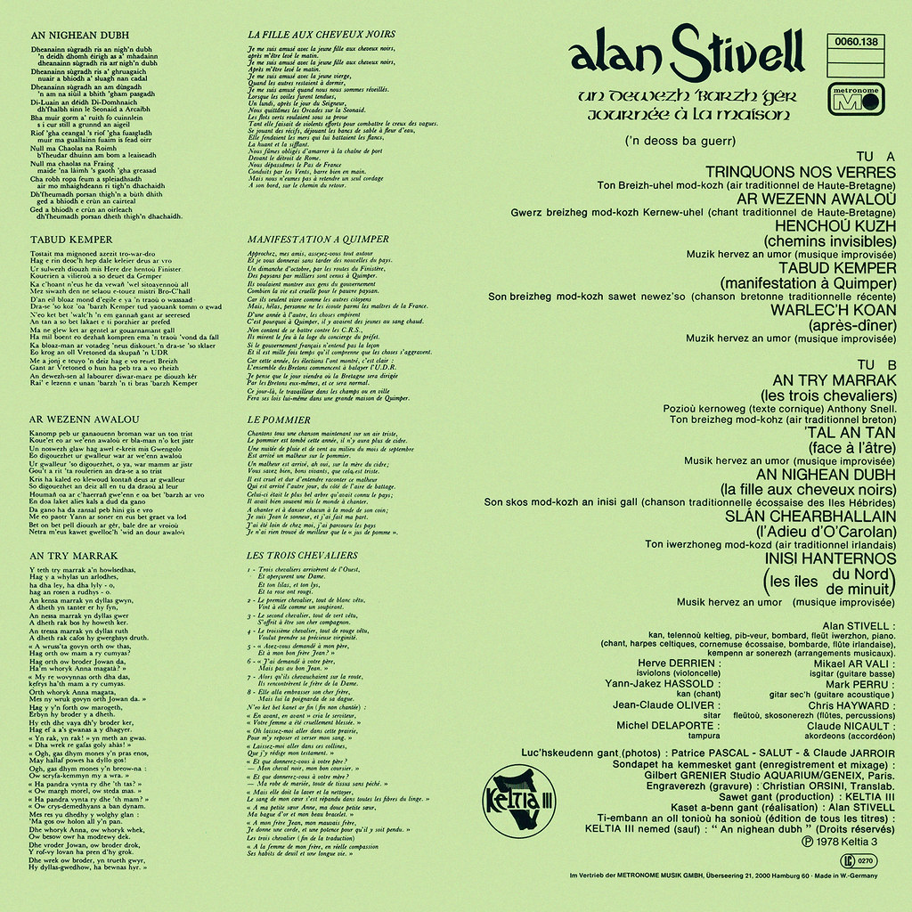 Alan stivell lp cover art for Alan stivell journee a la maison