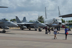 Two F/A-18E/F Super Hornets and a P-8 maritime patrol aircraft sit on display at the Singapore International Airshow. (U.S. Navy/MC3 Madailein Abbott)