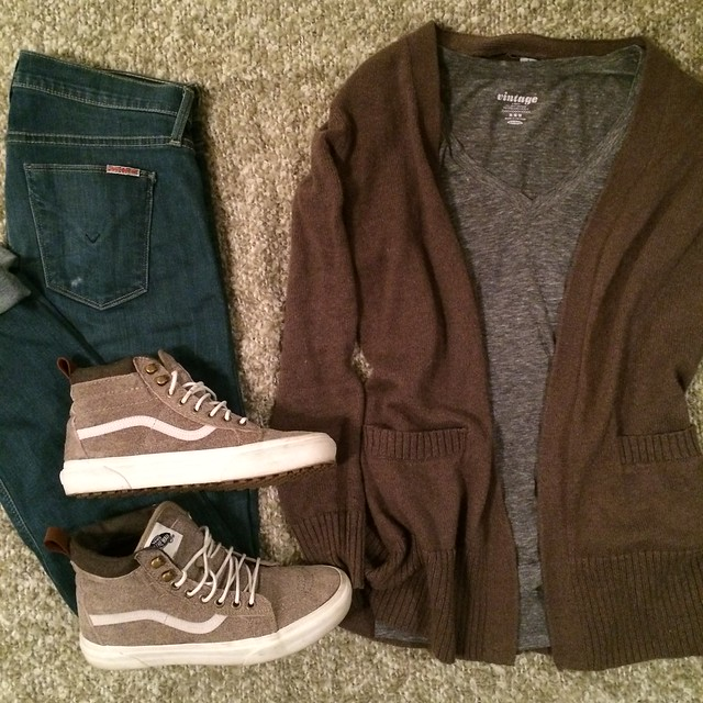 tan cardigan + gray v-neck + skinny jeans + Vans hi-tops