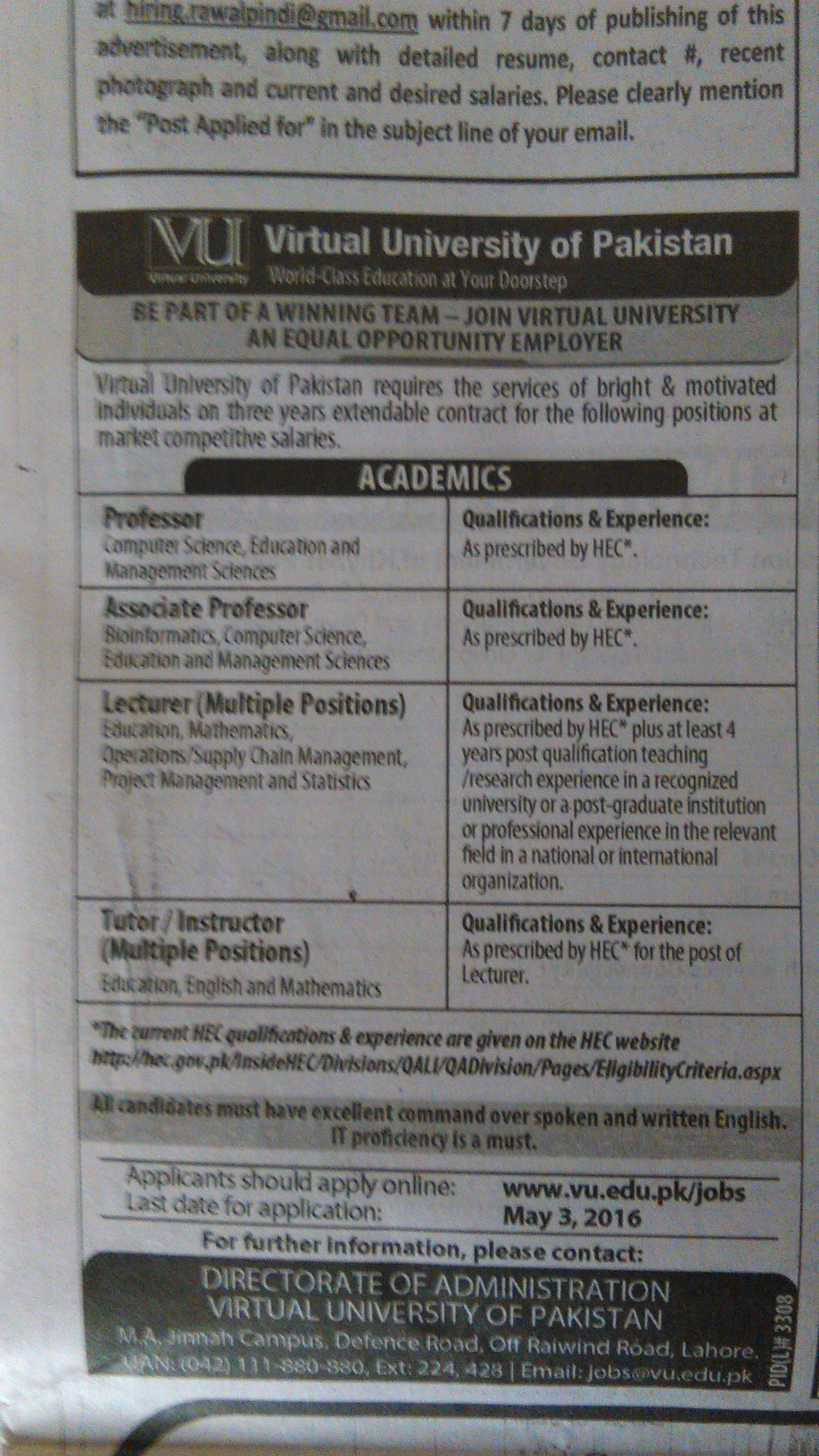 Virtual University Faculty Required