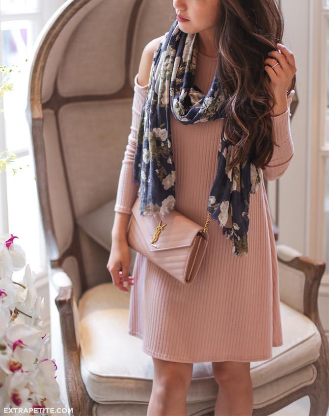blush pink swing dress YSL monogram wallet on chain