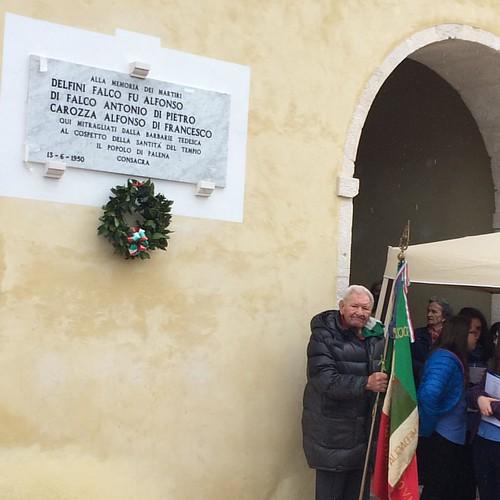 #sentierodellaliberta apposizione lapide alla memoria dei martiri di Palena.