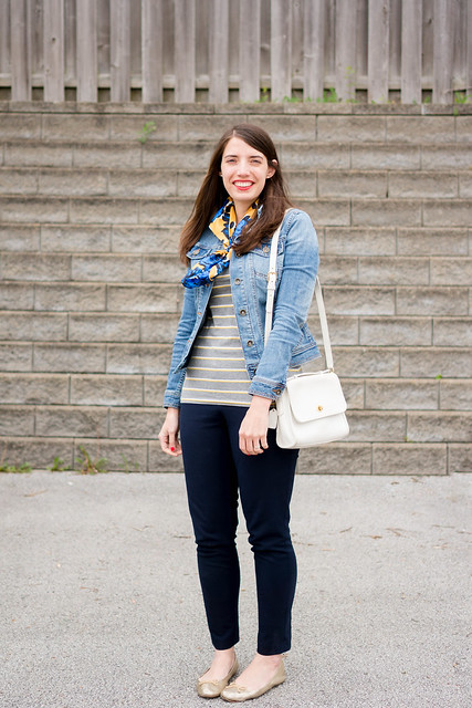 gray stripe tee + silk patterned scarf + white vintage Coach purse + denim jacket | Style On Target
