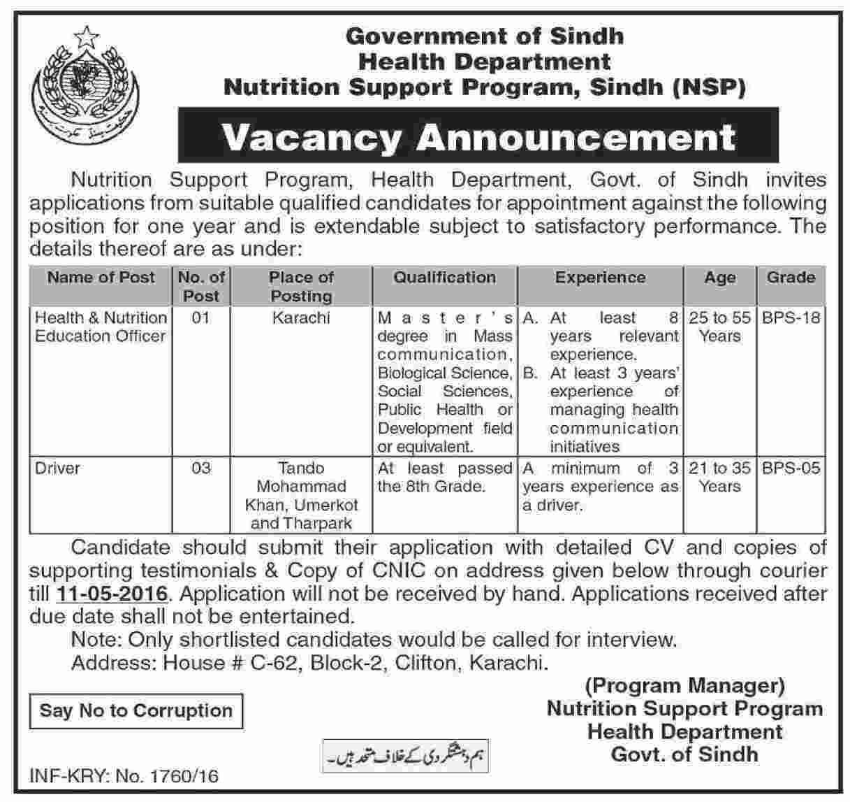 Government of Sindh Health Department Jobs 2016