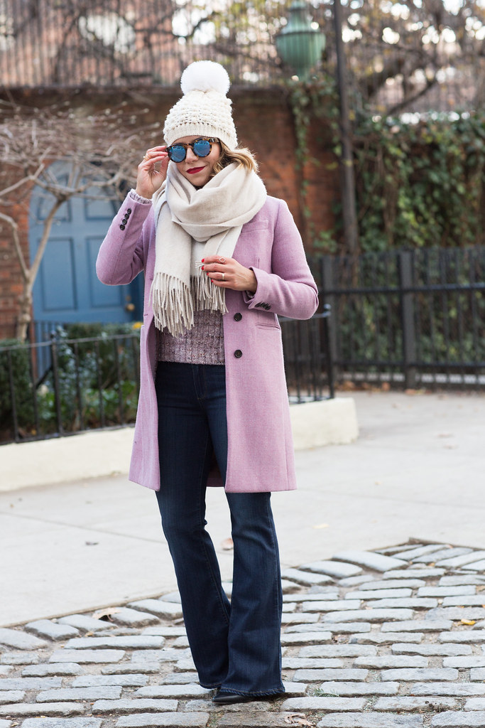 pink wool sweater j.crew coat wool coat club monaco sunglasses reflective paige denim sam edelman kate spade watch corporate catwalk casual weekend nyc look fashion bloggers in nyc
