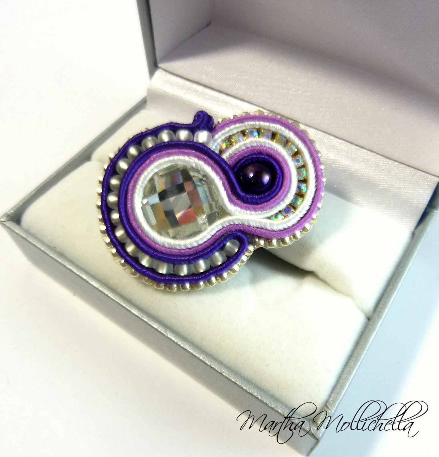 anello soutache perle e cristalli handmade by Martha Mollichella Handmade Jewely