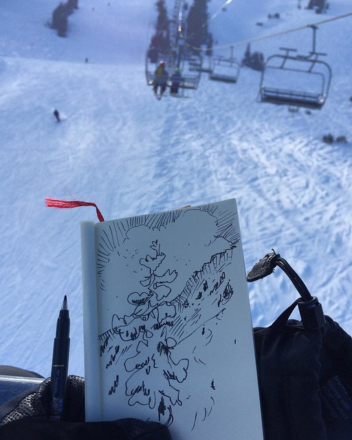 Sketching while skiing #sketchbook #sketchingwhileskiing #sketching #blackandwhite #winterdrawing #drawinginthesnow #drawingandskiing