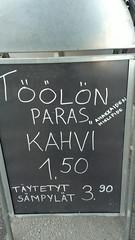 TÖÖLÖ'S BEST COFFEE sign