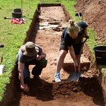 Community archaeologists excavating a trench to locate the base of the north-western Glazier's Tower.