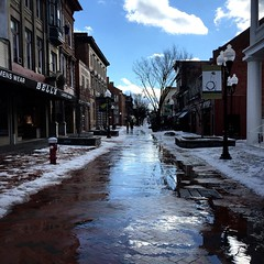 Mid-week meltdown.  #snowday #icy #downtownwinchester #walkingmall #winchesterva #reflection #puddlegram #hometown #loveva #justgoshoot