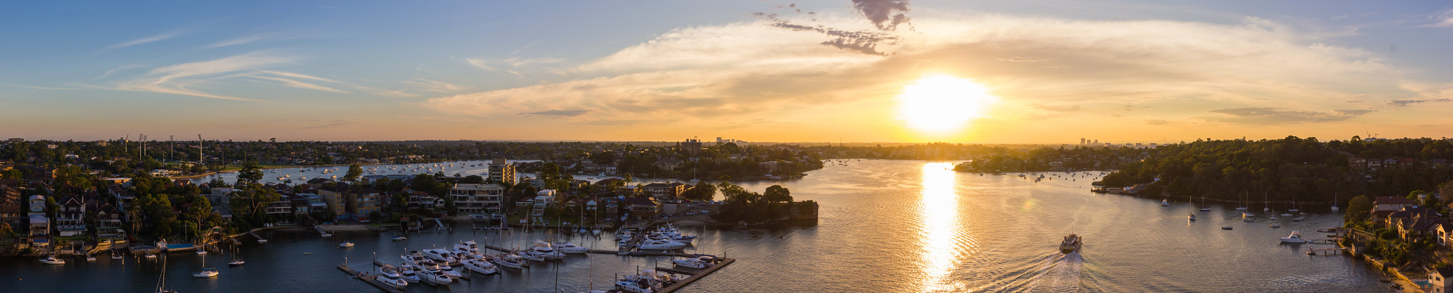 Gladesville Bridge looking west at sunset panorama