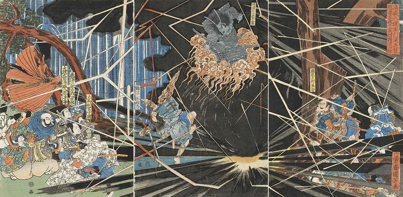 Utagawa Kuniyoshi - The Ghost of Akugenda Yoshihira Striking Down his Killer, 19th C