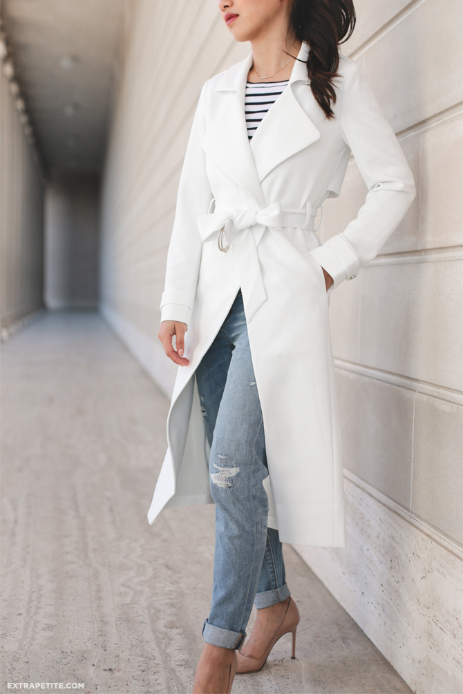 whbm spring outfit white trench coat petite boyfriend jeans
