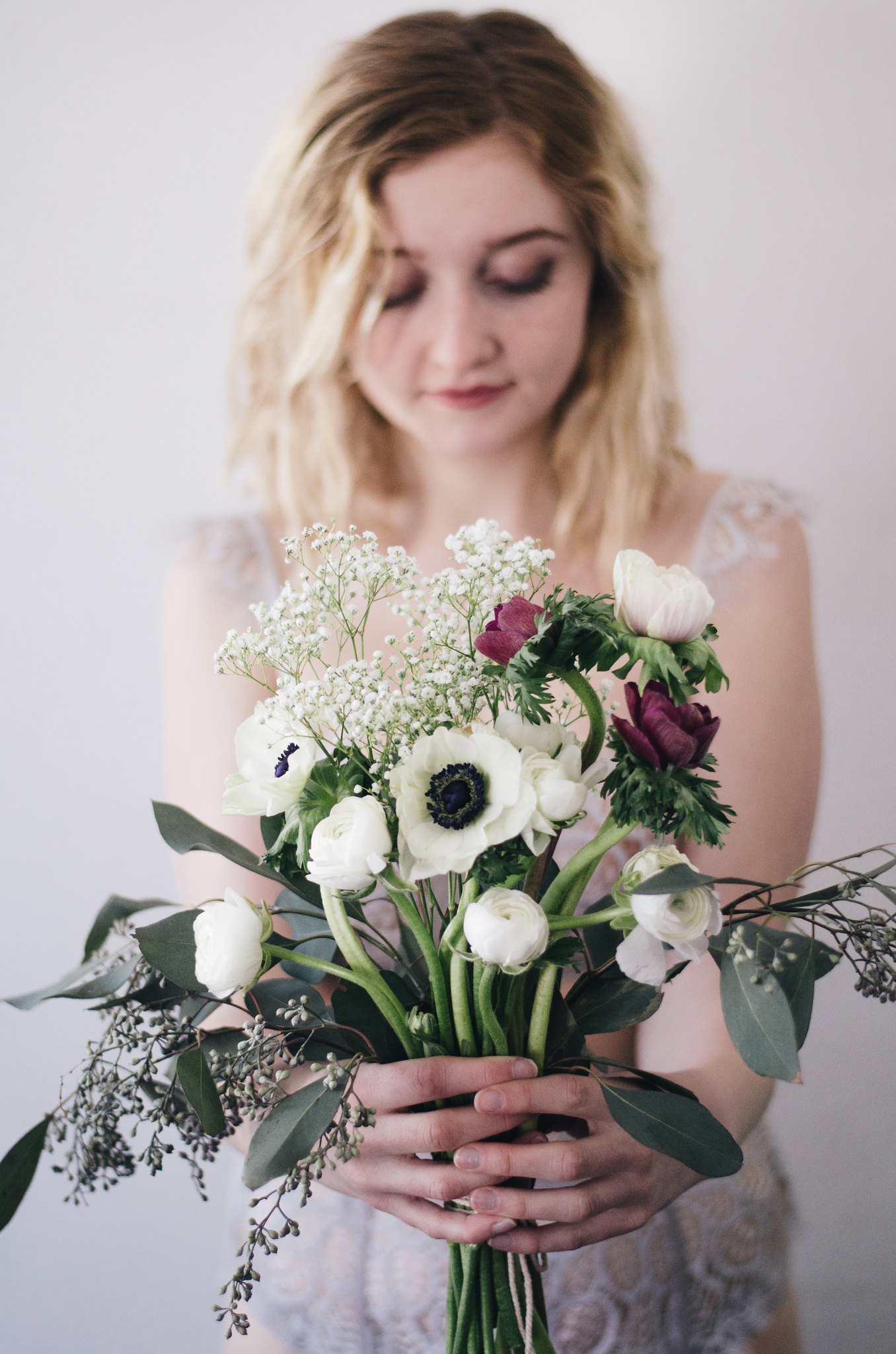 Ranunculus, Anemones, Babies Breath, and Seeded Eucalyptus on juliettelaura.blogspot.com