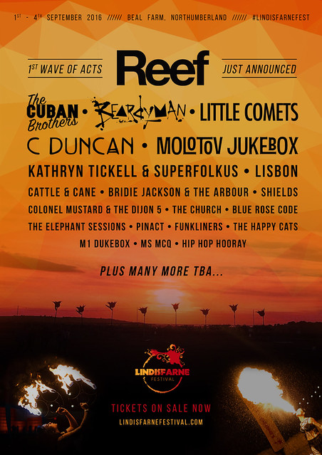 Lindisfarne Festival, first Line Up announcement, 22 February 2016