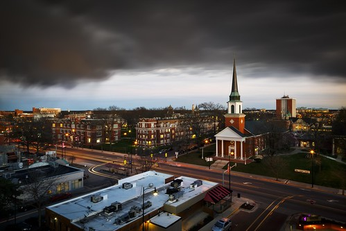 Notley Hawkins Photography, Columbia MO Photographer, Columbia MO Photo, Columbia Missouri Photography, Downtown Columbia Missouri, First Baptist Church Columbia MO, Stephens College, architecture, sunset, stormy sky, storm, clouds