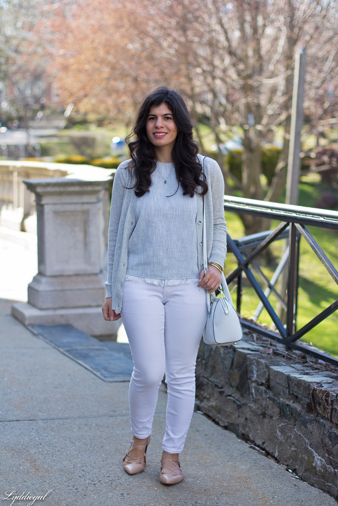 white jeans, grey cardigan, nude lace up flats.jpg
