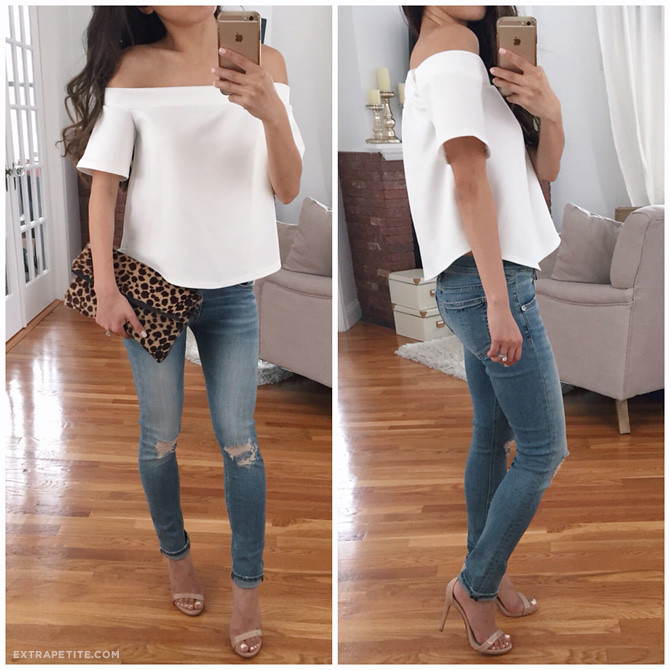 white off cold shoulder top boohoo petites rag bone jeans