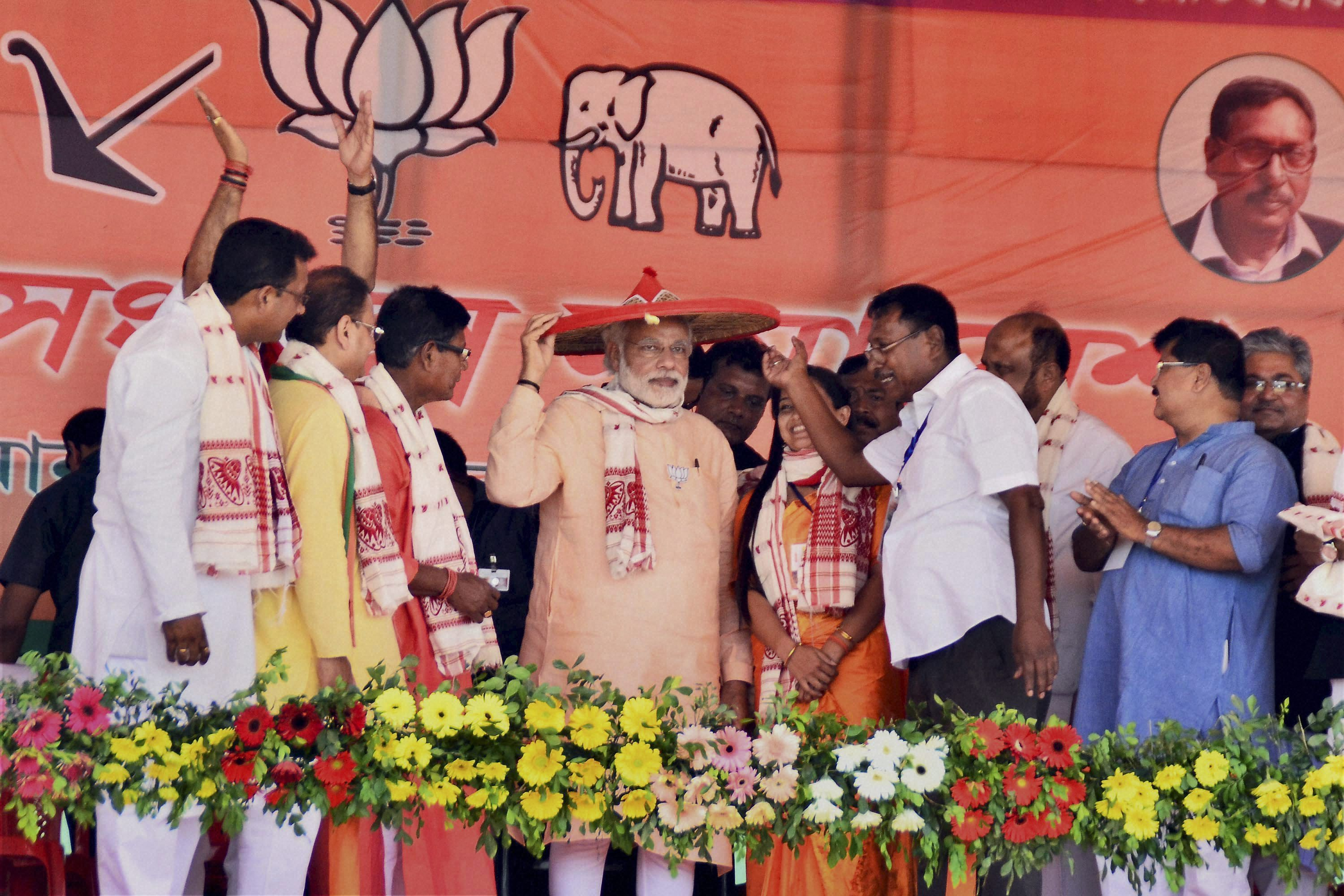 The thrust of SR Sen's history is very much along the lines of Narendra Modi's campaign speeches in the North East, where he has asserted that India is a 'natural home' for Hindus. Photo credit: PTI