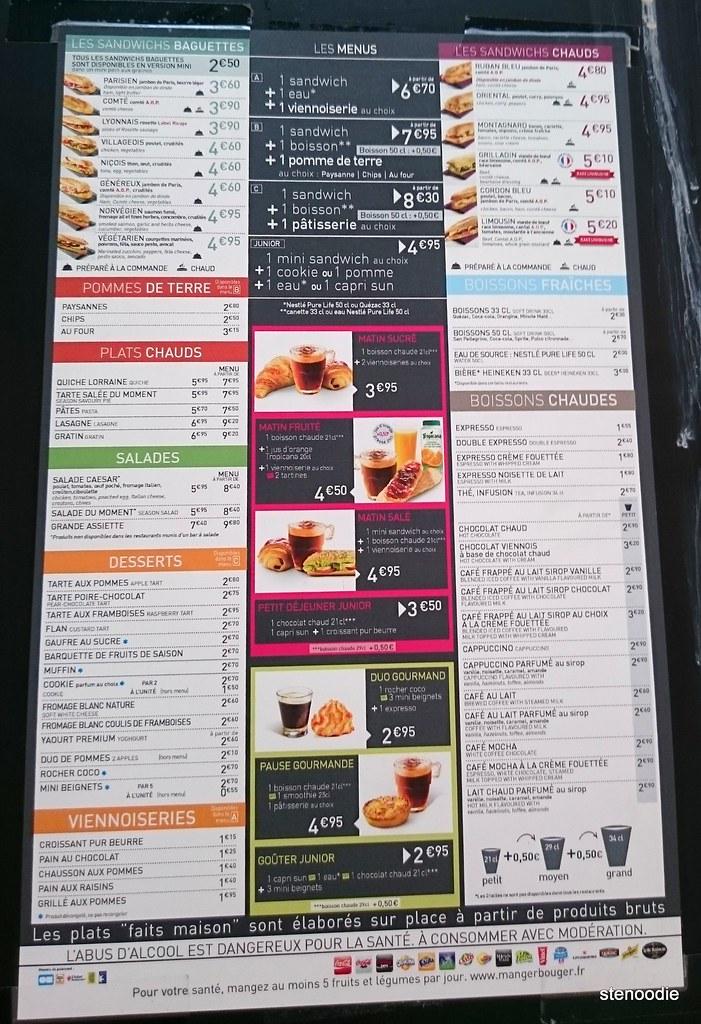 Pomme de Pain menu