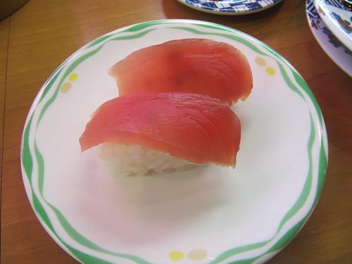 阪神競馬場の回転寿司店である鮨舞台のマグロ