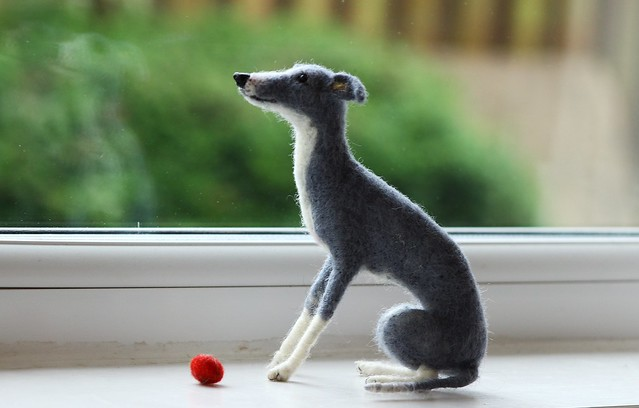 Italian Greyhound -needle felted