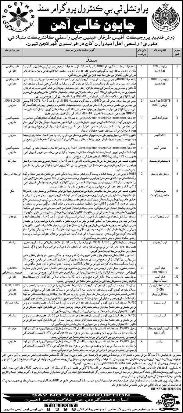 Sindh Professional TB Control Program Jobs 2016