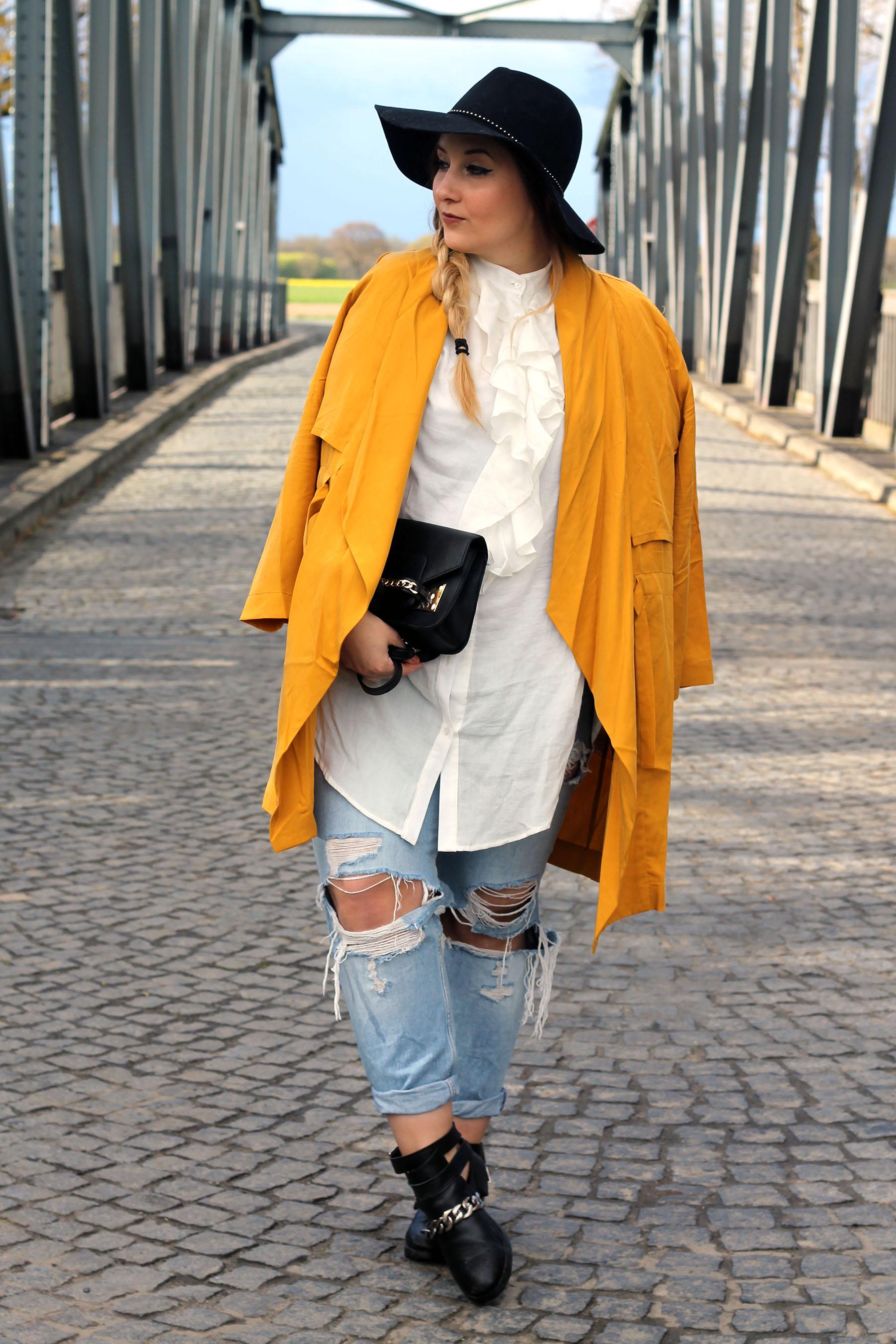 outfit-modeblog-fashionblog-hut-frisur-gelber-mantel-trend-frühling