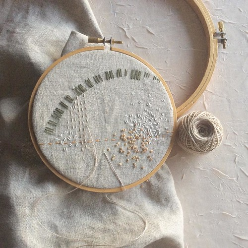 Day 6, in progress: running stitch the color of frosty fields