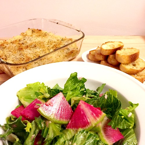 Cod & Potato Brandade with Watermelon Radish Salad & Garlic Toasts http://dlink.blueapron.com/SPBc/Xffipdiupq #blueapron