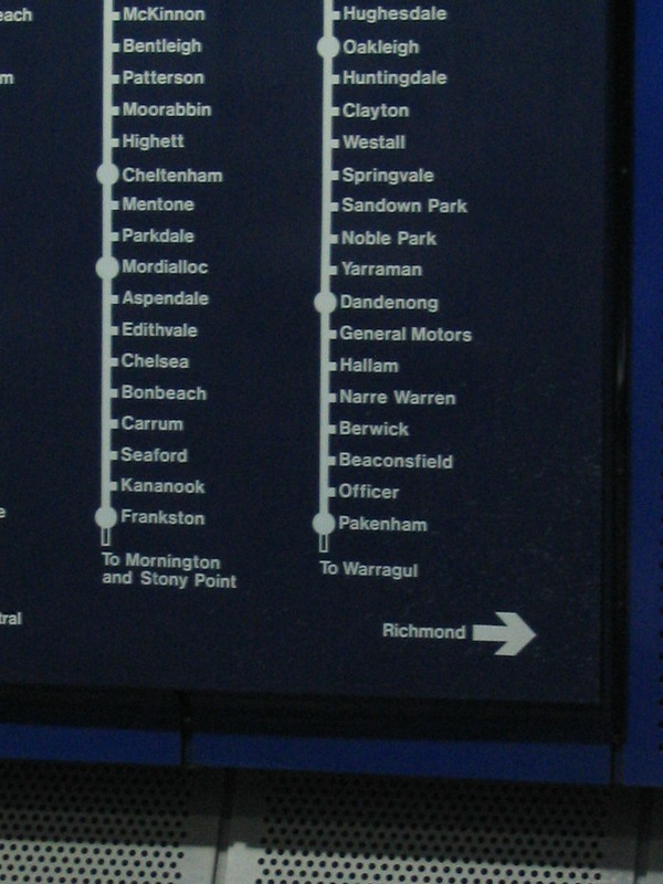 Map at Parliament station, January 2006