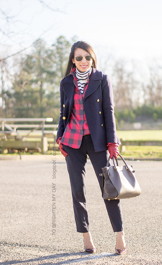 navy pea coat, striped turtleneck, red buffalo check shirt, navy pants, red gloves, burgundy pumps