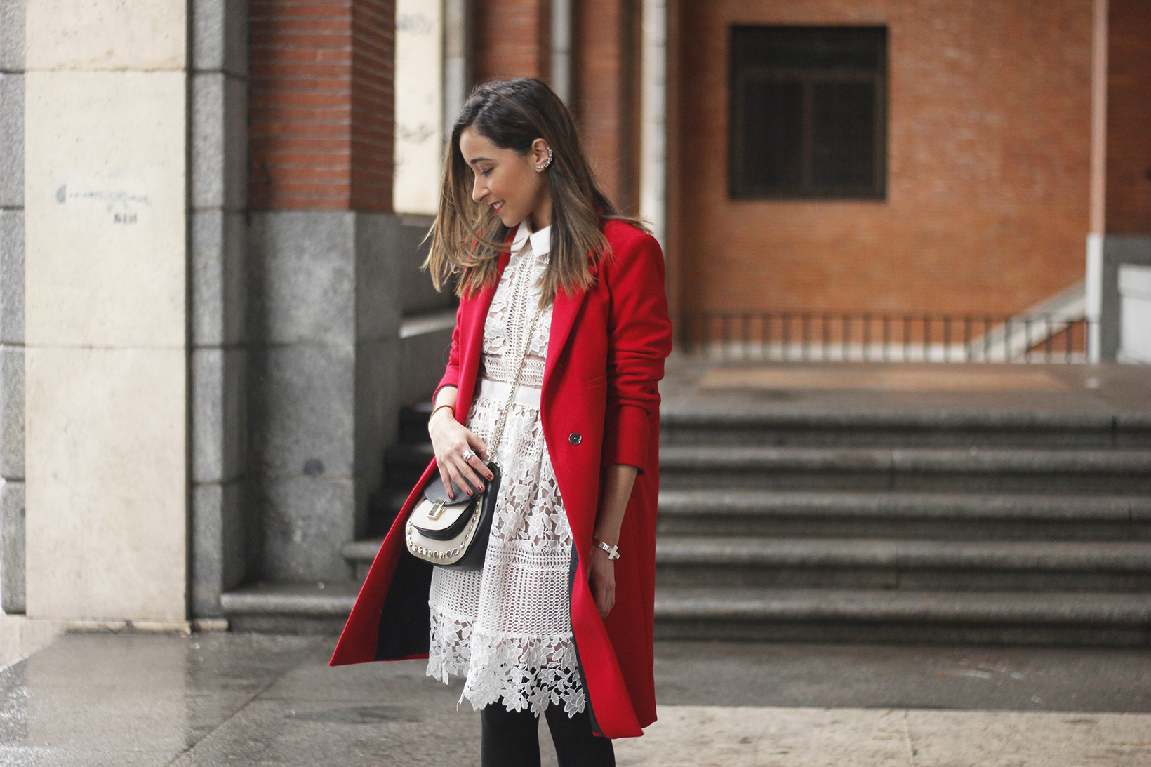 white lace dress with red coat uterqüe bag outfit style06