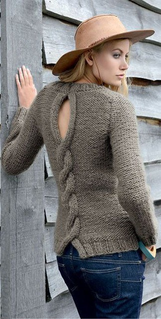 Designed cabled wool sweater