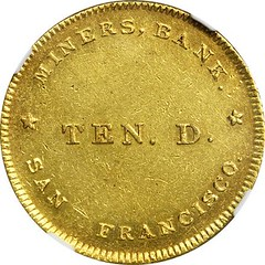 1849 Miners' Bank $10 obverse