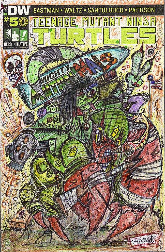 "IDW :: TEENAGE MUTANT NINJA TURTLES #50 // Cover RE Hero Initiative A - ""HERMAN & Mondo Gecko; Peace & War"" by tOkKa (( 2016 )) by tOkKa"