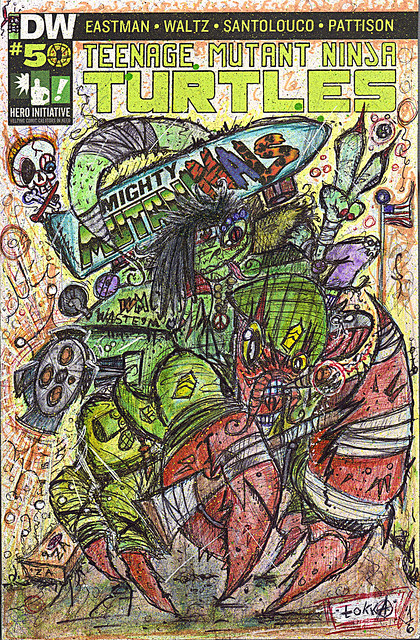"IDW :: TEENAGE MUTANT NINJA TURTLES #50 // Cover RE Hero Initiative A - ""HERMAN & Mondo Gecko; Peace & War"" by tOkKa (( 2016 ))"