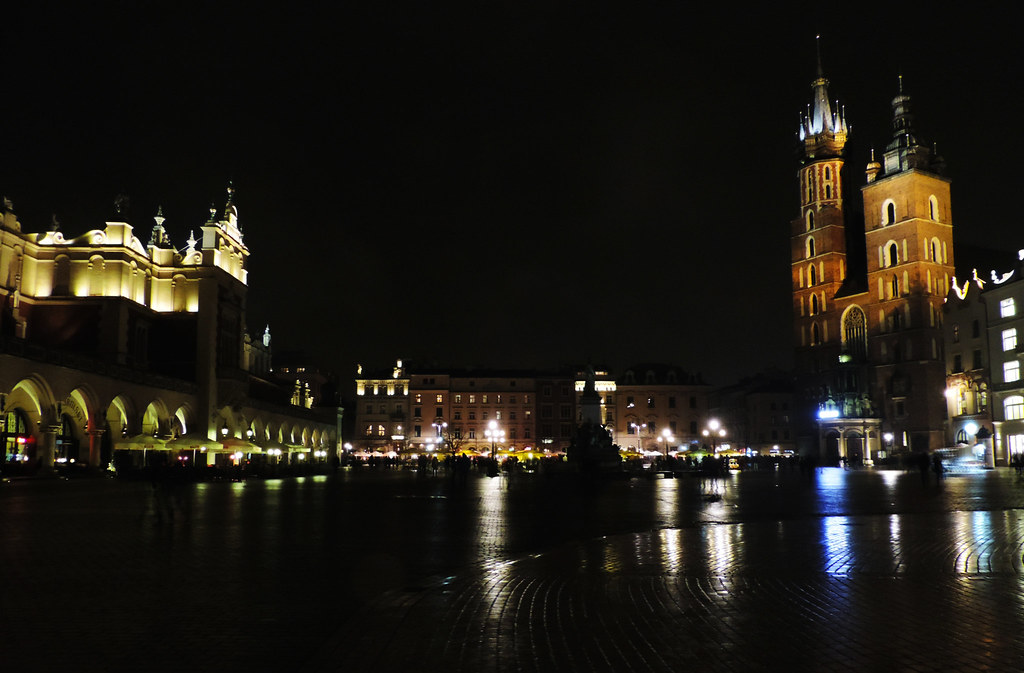 Main Square of Krakow at night