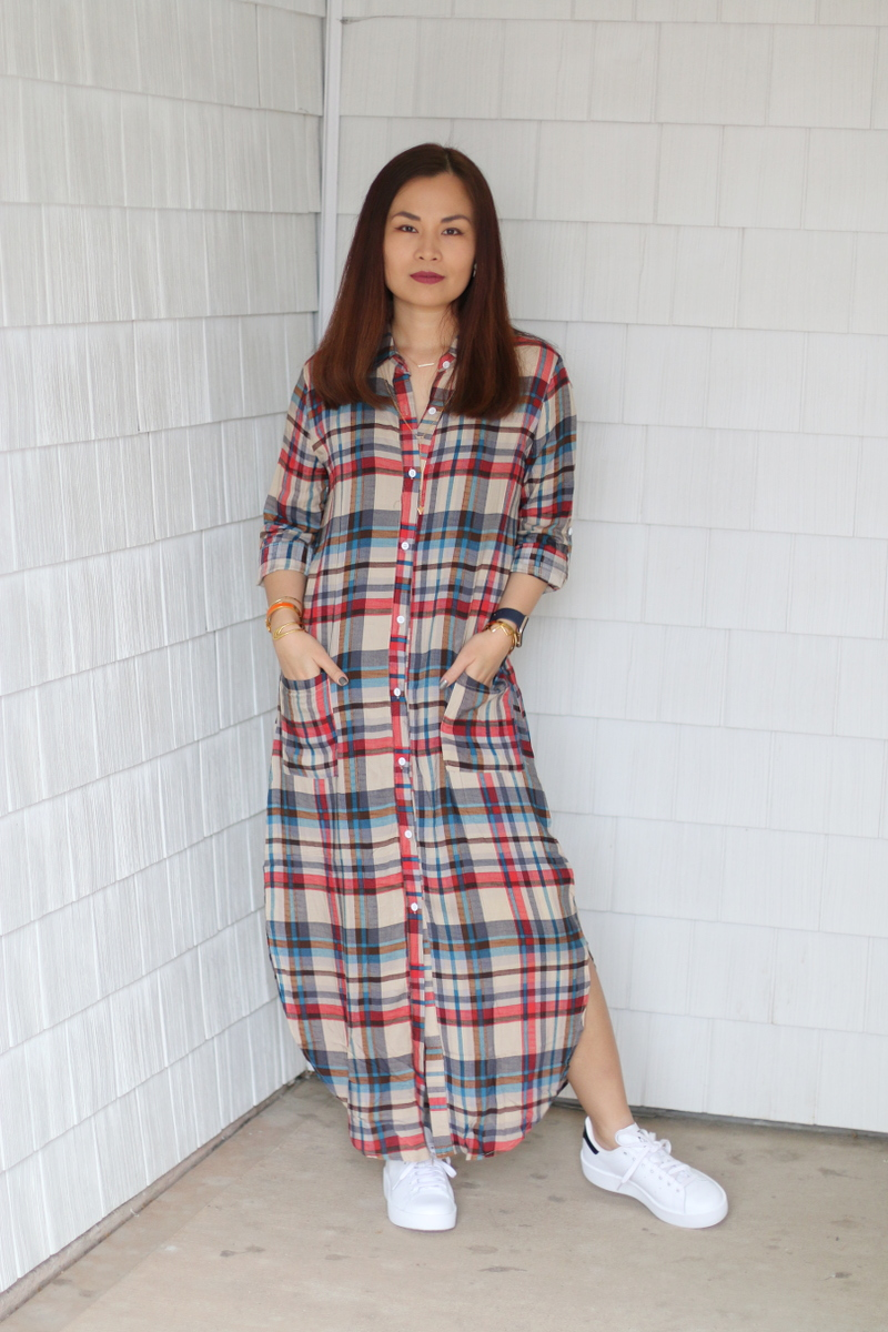 Stan-Smith-Double-Sole-sneakers-shein-plaid-dress-11