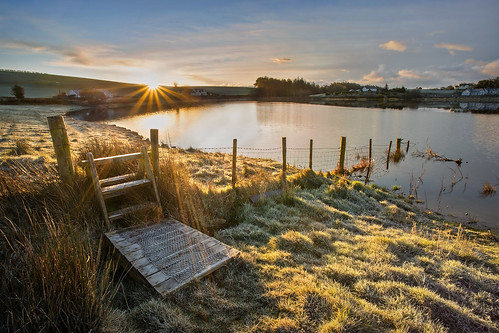 morning ireland light sky lake cold water grass rural sunrise canon fence reflections landscape dawn countryside spring still fishing scenery frost colours view scenic nopeople northernireland sunburst stile 1740mm ulster freshwater 6d countyarmagh shawslake disappearingfence glenanne alanhopps