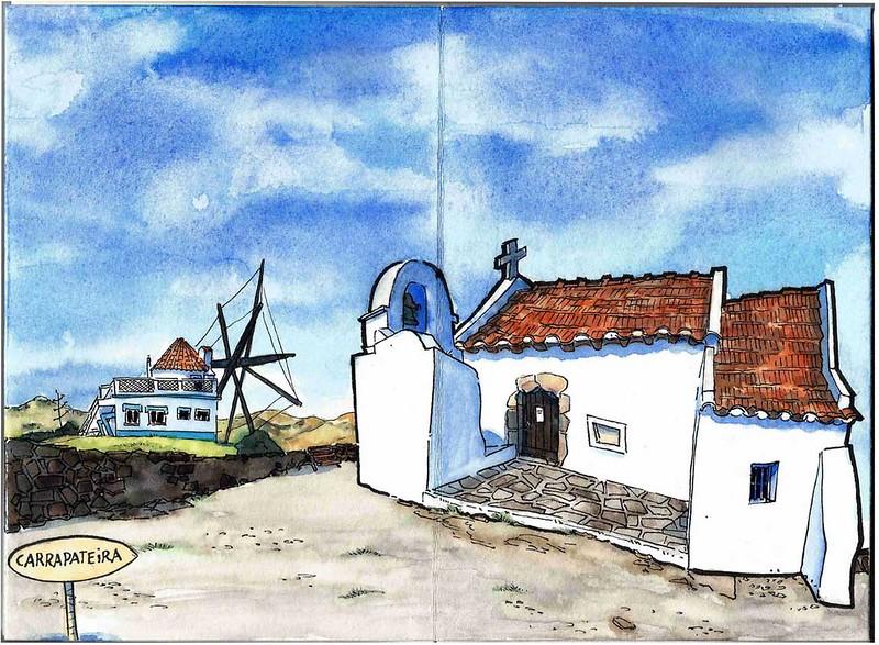 Igreja matriz e Moinho na Carrapateira, Aljezur