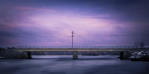 longexposure railroad bridge pink blue sunset lake blur water lines suomi finland river landscape evening scenery colorful view cloudy peaceful calm pole serene solitary maisema silta rautatie siuro pirkanmaa pitkävalotus