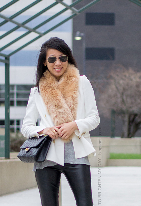 faux fur scarf, white blazer, faux leather pants