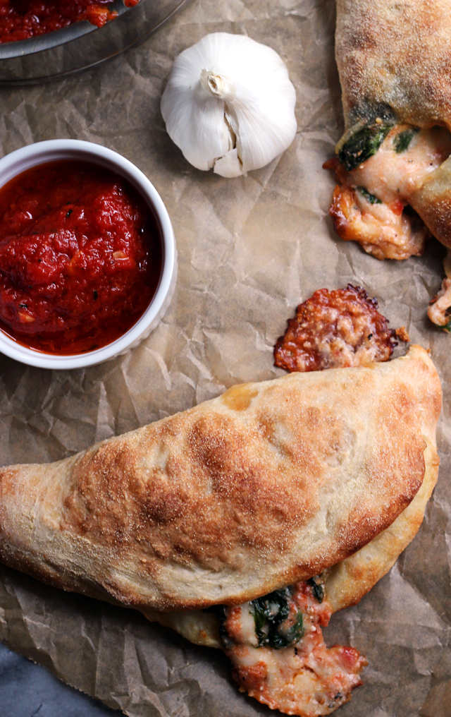 Kale and Three Cheese Calzones
