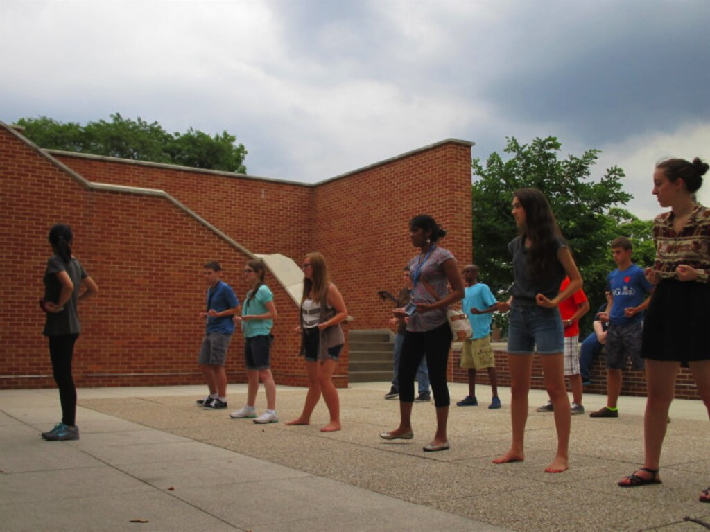 Students learning gongfu (kungfu).