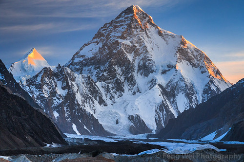 Dawn Light Over K2 & Angel Peak, Concordia, Central Karakoram National Park, Gilgit-Baltistan, Pakistan
