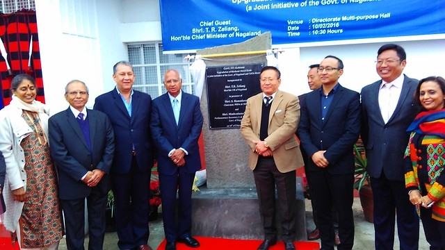 03. ITI Kohima Inauguration. (from left Mala Ramadorai, SP Joshi, Ranjit Barthakur, S. Ramadorai, TR Zeliang, CM with other dignatories
