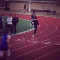 Kyle winning the 110m hurdles.  GO POKE!