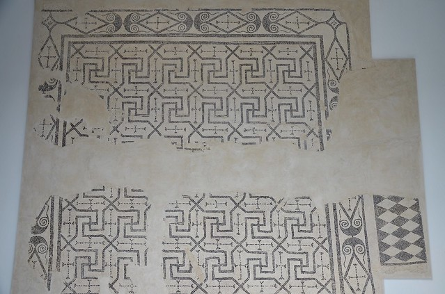 Black and white geometric mosaic with swastikas motifs that paved the tablinum of the Villa del Alcaparral, Roman Mosaic Museum, Casariche, Spain